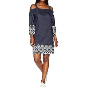 Jones New York Off Shoulder Chambray Dress